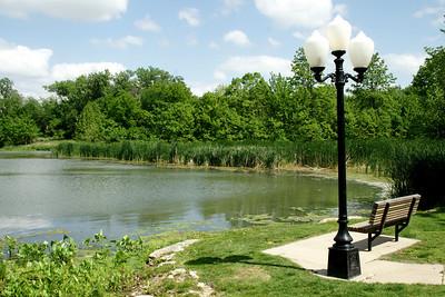 Pond along Lemon Park walkway in Pratt