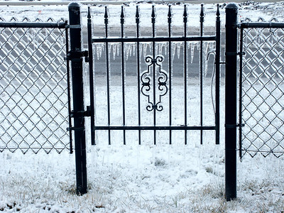 Ice on gate and fence of Greenwich Cemetery - northeast Wichita