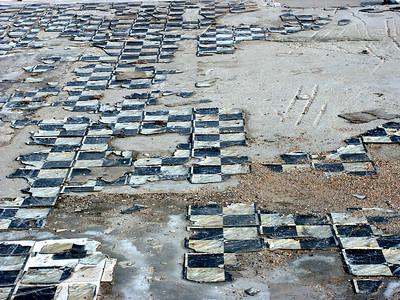 Remnants of tile floor of torn down building in Cheney
