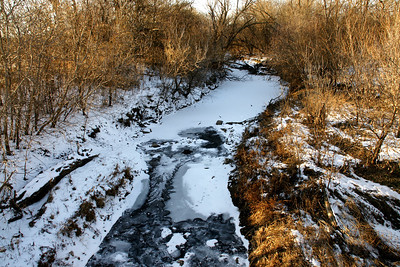 Frozen surface of Wildcat Creek - northeast Sedgwick County