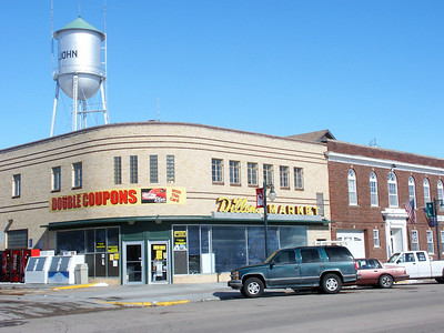 Dillon's Grocery and water tower - Downtown St John