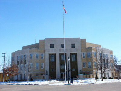 Stafford County Courthouse in St John. (Front of building faces the corner of the streets)