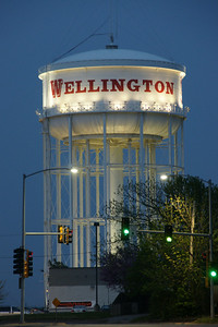 Water tower in Wellington at dusk
