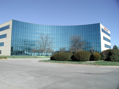 Raytheon building with reflections in mirrored glass - east Wichita