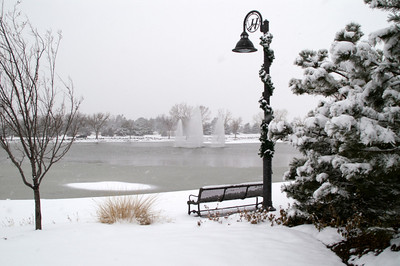 Winter at The Waterfront lake. Upscale shopping and dining area in east Wichita