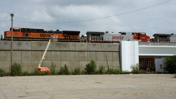 BNSF train crossing new bridge over 2nd St