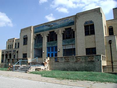 Former Municipal Airport terminal building - now Kansas Aviation Museum. Elegant art work.