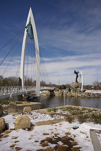 Keeper of the Plains park at confluence of Arkansas and Little Arkansas Rivers
