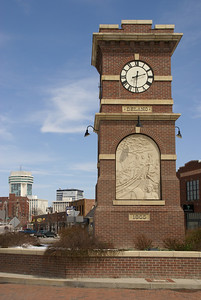Clock tower monument to early Wichita in Delano District on west Douglas