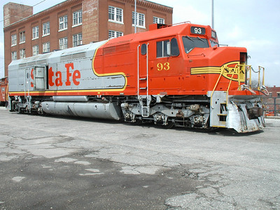Stata Fe locomotive at Great Plains Transportation Museum above Douglas Ave.