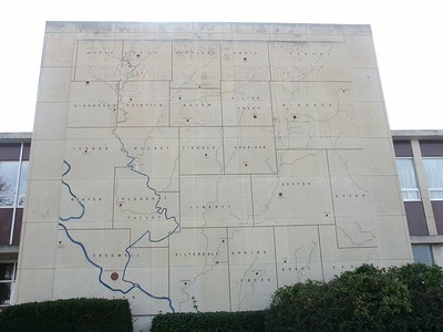 Map of Cowley County on courthouse