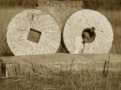 Monument about Hart's Mill along Caney River