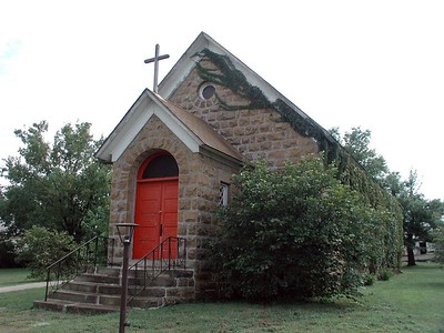 Ivy covered Baptist Church in Cedar Vale