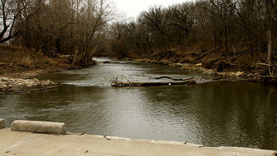 Verdigris River seen from low water bridge - northern Greenwood County