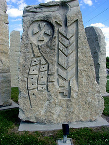 Limestone art at Prairie Passage Park in Emporia