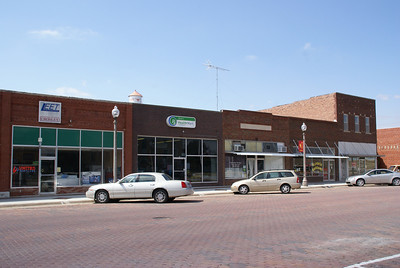 Business storefronts along Main Street in Jetmore