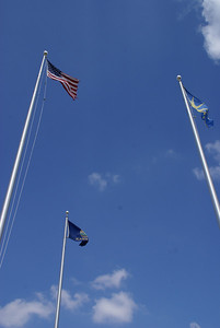 Flag poles on Courthouse square in Jetmore