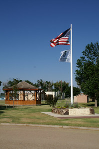 Gazeebo and flag - City Park - Fowler