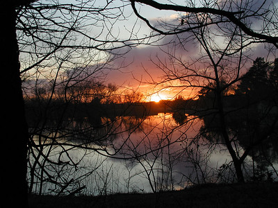 Sunset over the lake at Alorie Lodge - Sedgwick County