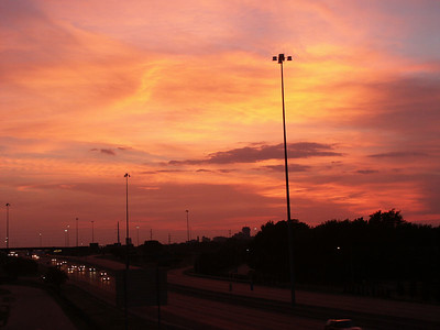 Sunset over Kellogg Avenue in Wichita