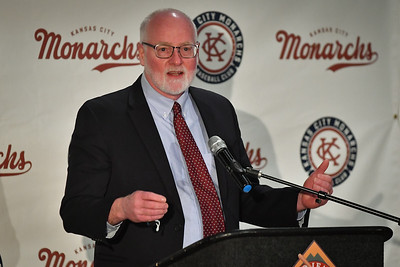 Kansas City, Kansas Mayor David Alvey speaks Thursday, Jan. 21 at the Negro Leagues Baseball Museum after the T-Bones announced they would change their name to the Monarchs.
