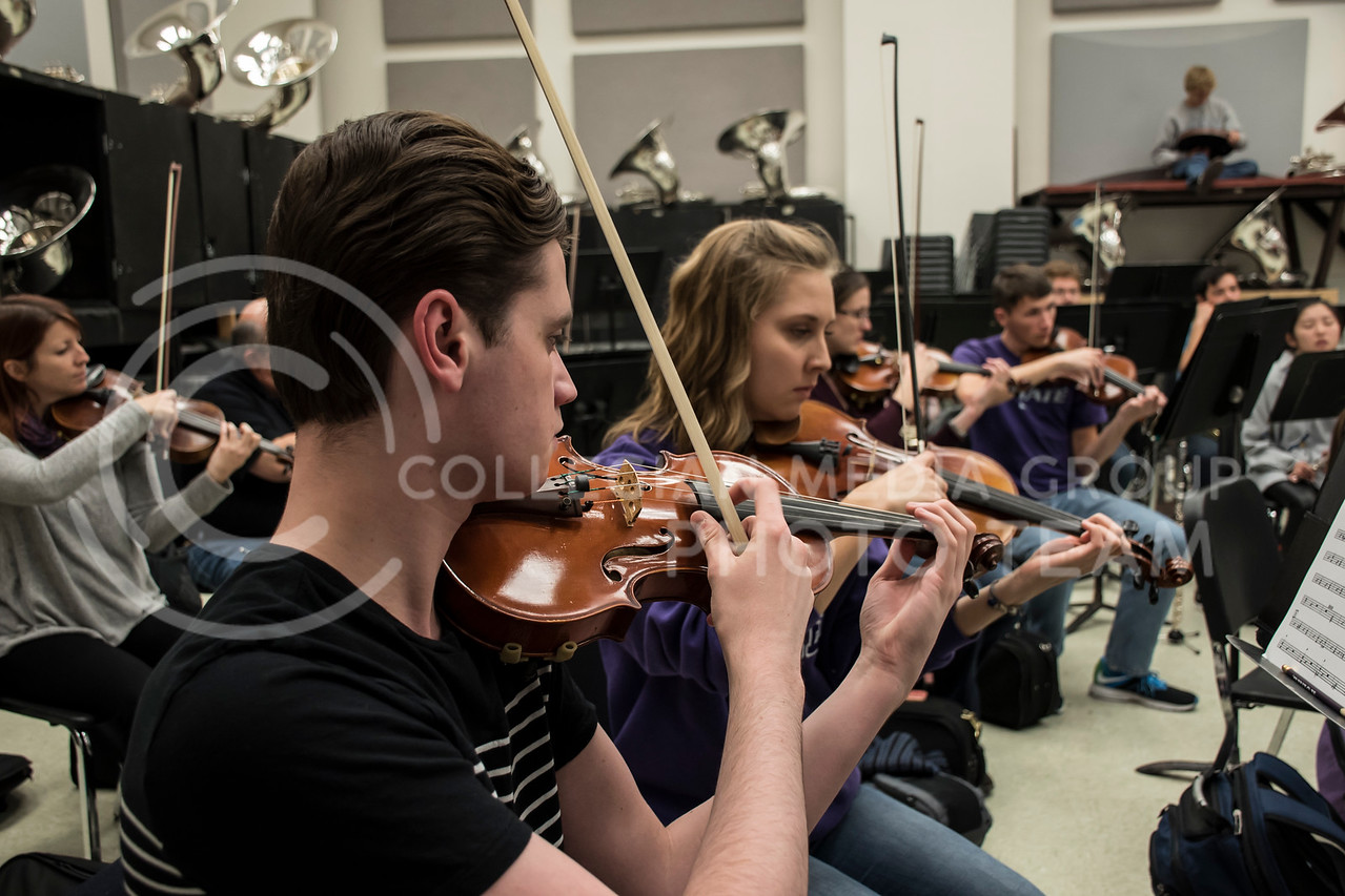One of the strings sections plucks along to their music at rehearsal for the Kansas State Orchestra in the McCain Building in Manhattan, KS, on Nov. 6, 2017. (Olivia Bergmeier | Collegian Media Group)