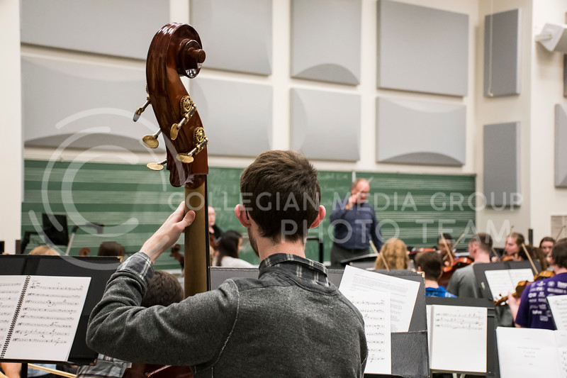 An upright bass player makes sure they do not miss a single note during rehearsal of the Kansas State Orchestra in the McCain Building in Manhattan, KS, on Nov. 6, 2017. (Olivia Bergmeier | Collegian Media Group)