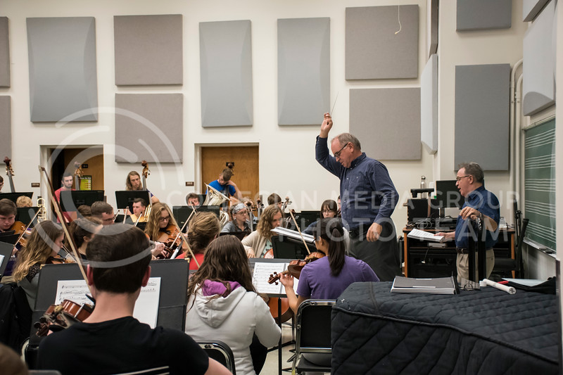 Dr. Littrell leads the Kansas State Orchestra during rehearsal in the McCain building in Manhattan, KS, on Nov. 6, 2017. (Olivia Bergmeier | Collegian Media Group)