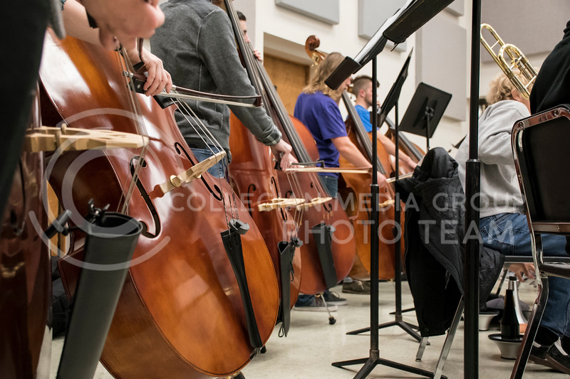 The upright bass section during the rehearsal of the Kansas State Orchestra in the McCain Building in Manhattan, KS, on Nov. 6, 2017. (Olivia Bergmeier | Collegian Media Group)