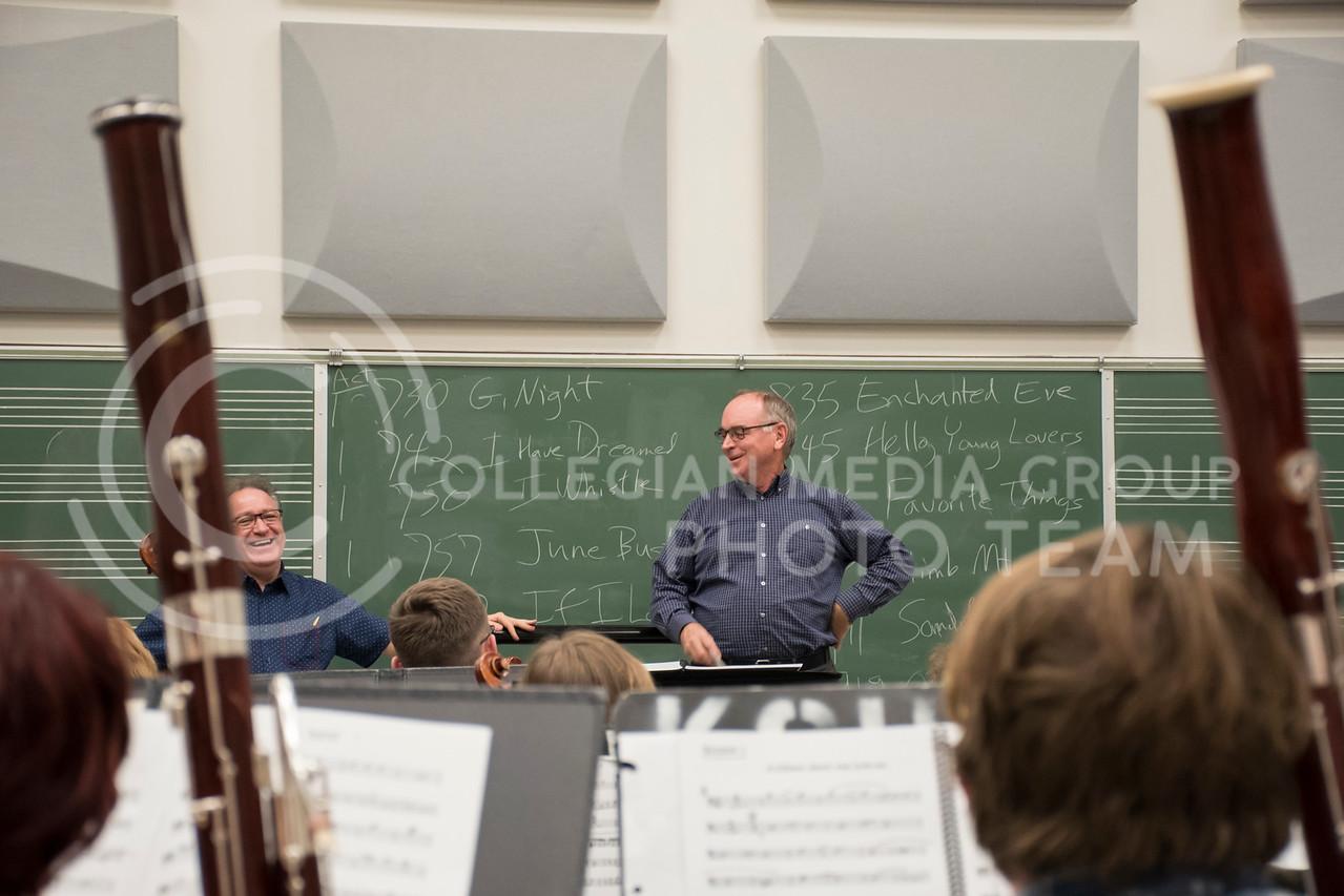 Dr. Littrell tells a joke before the Kansas State Orchestra Rehearsal in the McCain Buidling in Manhattan, KS, on Nov. 6, 2017. (Olivia Bergmeier | Collegian Media Group)