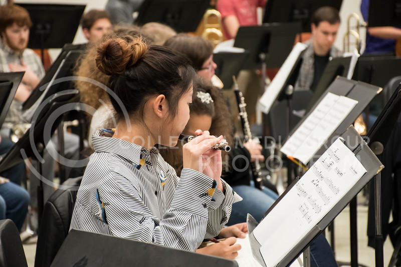 A piccolo player pays close attention to their music as to not miss a single note during rehearsal for the Kansas State Orchestra in the McCain Buidling in Manhattan, KS, on Nov. 6, 2017. (Olivia Bergmeier | Collegian Media Group)
