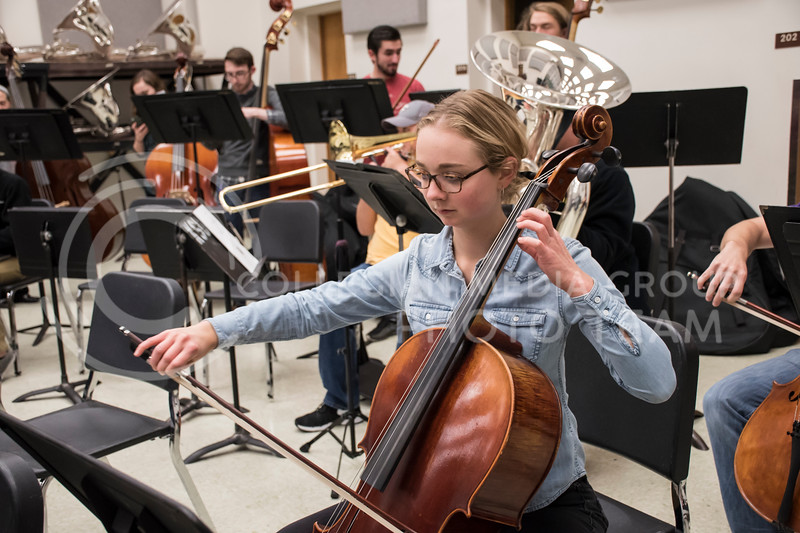 One of the cello players pays close attention to their music during rehearsal for the Kansas State Orchestra in the McCain Building in Manhattan, KS, on Nov. 6, 2017. (Olivia Bergmeier | Collegian Media Group)