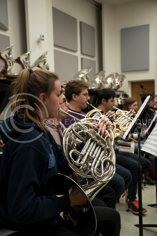 The French Horn section in the Kansas State Orchestra pays close attention during rehearsal in the McCain Building in Manhattan, KS, on Nov. 6, 2017. (Olivia Bergmeier | Collegian Media Group)