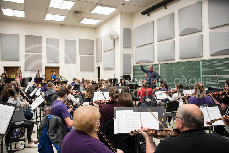 Dr. Lettrell leads the rehearsal of the Kansas State Orchestra in the McCain Building in Manhattan, KS, on Nov. 6, 2017. (Olivia Bergmeier | Collegian Media Group)