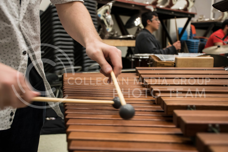 One of the percussionists plays the xylophone during rehearsal for the Kansas State Orchestra in the McCain Buidling in Manhattan, KS, on Nov. 6, 2017. (Olivia Bergmeier | Collegian Media Group)