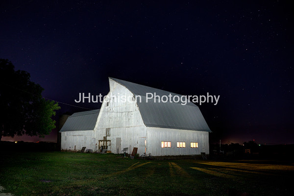 Light-Painted White Barn