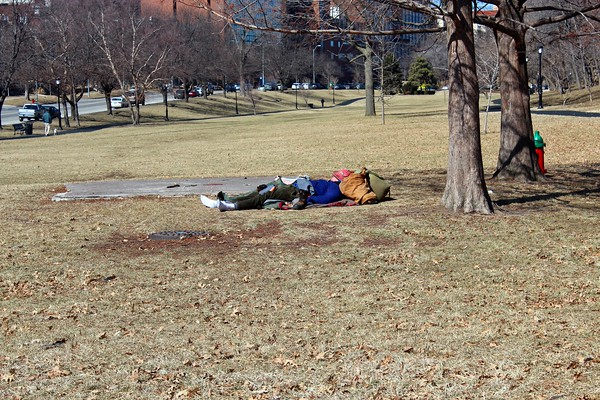 Pictures of J.C. Nichols Park would not be complete without<br />  a picture of one of Kansas City's perennial homeless.
