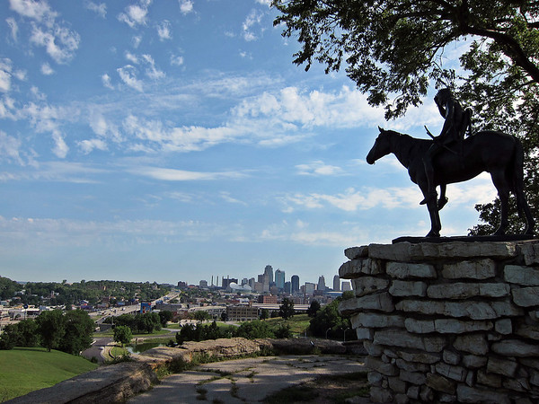 The Scout, with the Kansas City MO sky line in the background
