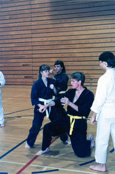 Winter 1991 - demo at Emory PE center<br /> Barb, Roger, Brian, Mitch
