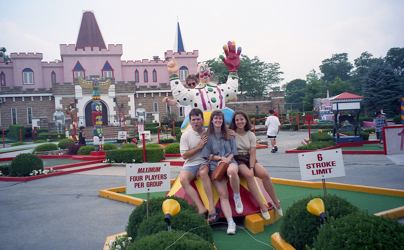 July 8, 1994 Par-King Mini golf Lincolnshire, IL<br /> Roger, Barb, Kimberly, and Brian (behind the clown)
