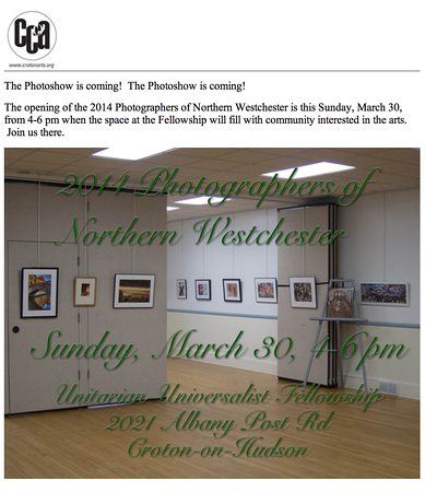 One of Karen's images was included in this exhibit.<br /> Croton Council on the Arts'<br /> 2014 Photographer's of Northern Westchester Exhibit @<br /> Unitarian Universalist Fellowship<br /> Croton-on-Hudson<br /> March-April 2014