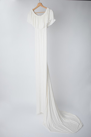 Winter White Harper Boho Ruffle Gown  (Suggested Size: 4-14)
