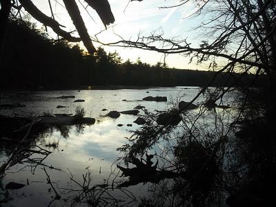 Beach pond sunset
