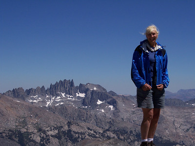 Long Mountain Summit on the southern Yosemite border, Aug. 2005. Minarettes near Mammoth in the background. Taken by Rich Caviness.