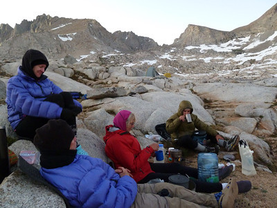 "Dinner after ""summitting"" Mt. Sill, Aug. 2011. I was pretty cooked, myself. Photo by Rich Caviness."