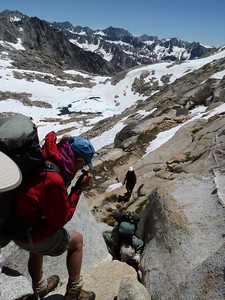 Descending Potluck Pass on the way to Big Frozen Lake. Aug. 2011 Kings Canyon. Photo by Rich Caviness.
