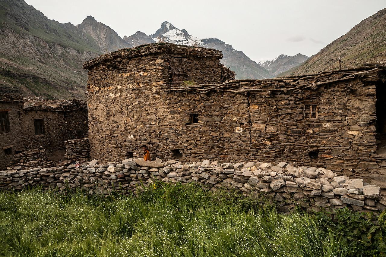Stone houses in Parkachik village of Suru valley, India