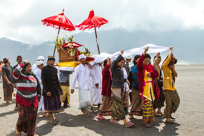 Tengger people form a procession to mark the beginning of the Yadnya Kasada festival.