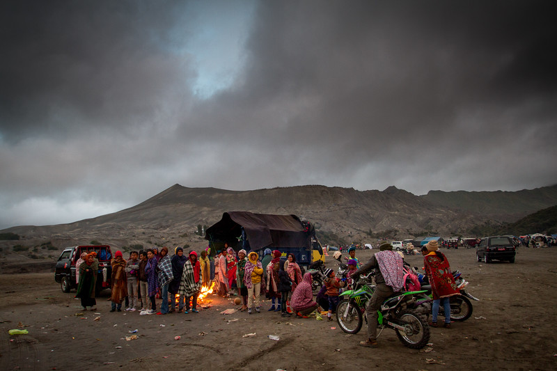 Tengger people gather on the Sea of Sand to celebrate Yadnya Kasada festival before climbing Mt Bromo to make an offering to the volcano god.