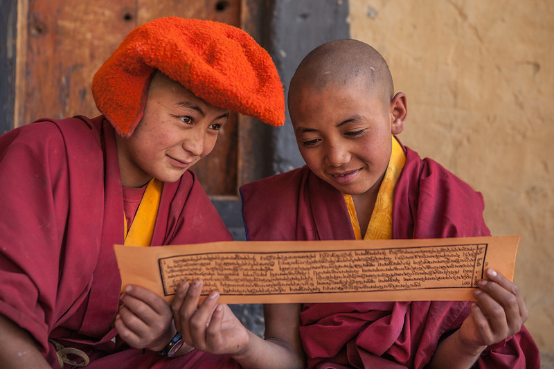 Young monks at Phuktal monastery, India